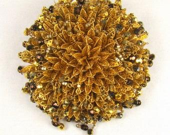 "Fantastic Large Miriam Haskell Chrysanthemum Themed Beaded Brooch ~ 3"" Diameter"