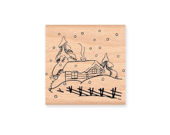 SNOWY WINTER CABIN - large -  wood mounted rubber stamp (mcrs 01-01)