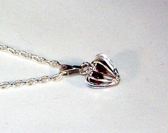 Amethyst Swarovski Crystals in Silver Heart Cage - Any Birthstone - SIlver or Gold