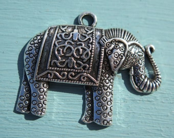 1PC - Elephant Pendant - Antique Silver - 50X40mm