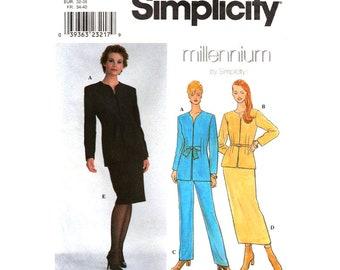 Womens Sewing Pattern Jacket, Long Skirt, Pants Simplicity 8836 High Waist Trouser Women Suit Size 6 to 12 UNCUT