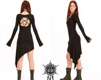 Pentagram dress. Goth dress. Gothic dress, sacred geometry dress, tetragramaton, punk dress, techno punk, cyber punk, black dress, occult