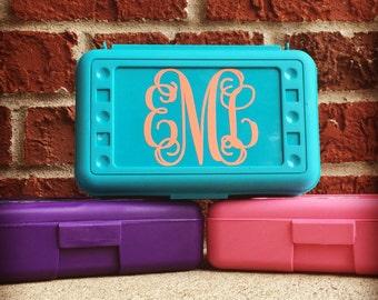 Monogram Pencil Box, Personalized Pencil Box, Personalized Crayon Box, Personalized School Supplies, Personalized Art Box, Pencil Case