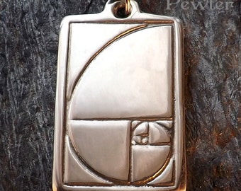 Sacred Spiral - Pewter Pendant - Sacred Geometry Jewelry, Golden Mean, Golden Spiral, Fibonacci Spiral