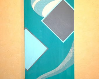 original acrylic painting, turquoise and sand colored