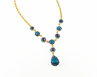Neon Painted Rhinestone Necklace Turquoise, Deep Blue, Yellow, Pink