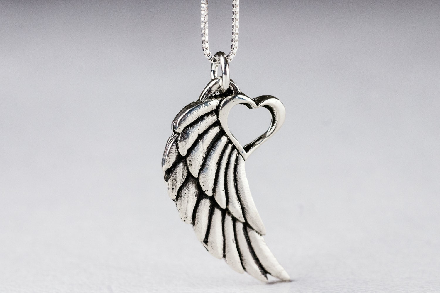 angel wing necklace with heart pendant tattoo winged heart rh etsy com angel wing heart pendant angel wing heart milagro