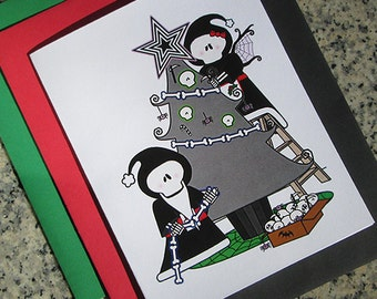 mr. and mrs. grim reaper claus decorating the holiday tree christmas cards, thank you notes (blank/custom inside) envelopes - set of 10