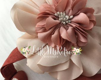 Dramatic Bohemian Baby Girl Glam,Adjustable Headband,Photography Prop,Family Photos,Copper,Floral Headband,Flowers Satin,Darling Headband