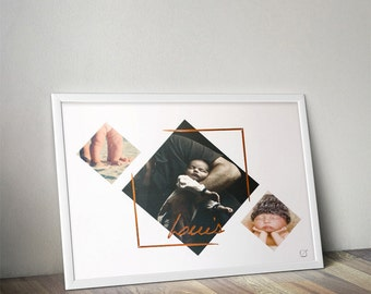 Displays frame Louis gilding & name in gilding - customizable - gilding - colour-decorating - child - room
