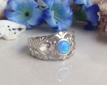 20% off- SALE!! Blue Opal Ring - Lace Ring - Filigree Ring - Gemstone Ring - Wide Ring - Silver Ring - Delicate Ring - Opal Jewelry