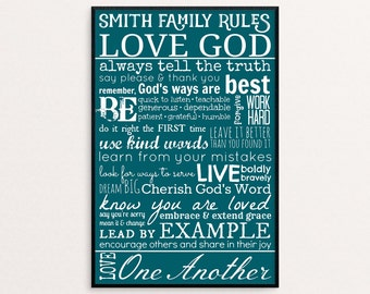 Custom House Rules, Family Rules, Rules of Life, Life Rules, Family Rules Sign, Family Rules Wall Art, Family Rules Poster, Christian