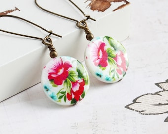 Pink Flower Earrings, White Shell Earrings on Antiqued Brass Hooks, Floral Dangle Earrings, Long Earrings, Spring Jewelry