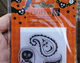 Studio G Clear Stamps - Halloween Theme - paisley jack-o-lantern, paisley skull and cross bones - paper stamping and card making
