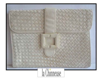 LANVIN POUCH VINTAGE / Lanvin White leather pouch / clutch leather braid Lanvin / Collectible / Made in France / french Designer.