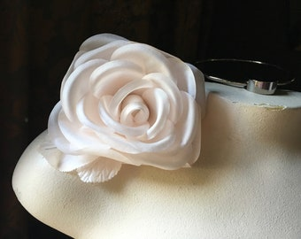 BLUSH Pink Silk Millinery Rose for Bridal, Hats, Corsages MF