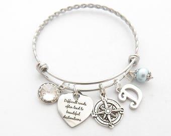 Silver Bracelet Inspirational BRACELET-Best Friend Gift Friendship Bracelet-Going Away-Sister Gift Friendship Jewelry Compass Jewelry