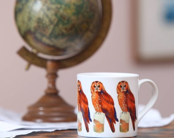 Beautiful handpainted watercolour china mug with repeated Tawny owl design