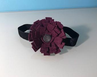 Deep Purple Felt Flower in Black Elastic Headband