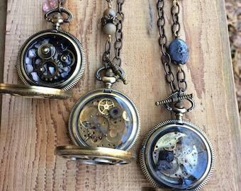 Ladies Pocket Watch Pendant Necklace
