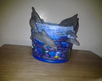 Ceramic Ocean Dolphin  Planter