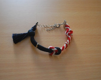 Navy, Red & White Rope Knot Bracelet- Náutica Collection