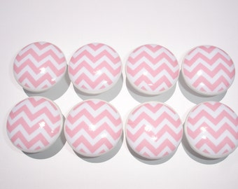 Set of 8 Pink and White Chevron Dresser Drawer Knobs