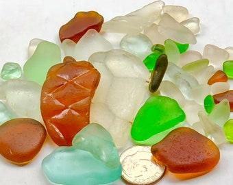 Beach Glass Sea Glass of  Hawaii beaches AQUA! PATTERN! Safety glass! 4 Pendants! Bulk sea glass! Genuine Sea Glass! Mosaic Tiles!