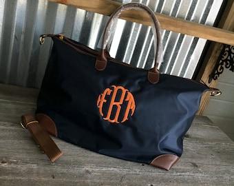 TOTE/Navy Nylon Weekender Tote Bag with Dual Handles