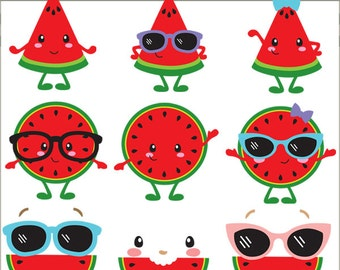 Watermelon Clipart -Personal and Limited Commercial Use- Summer Clip art, Watermelon Faces
