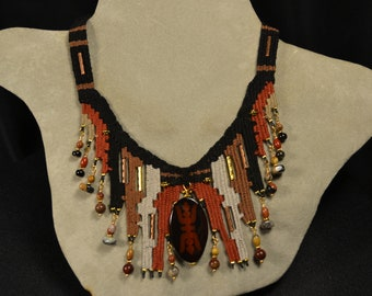 Woven Necklace with Glass Pendant 840