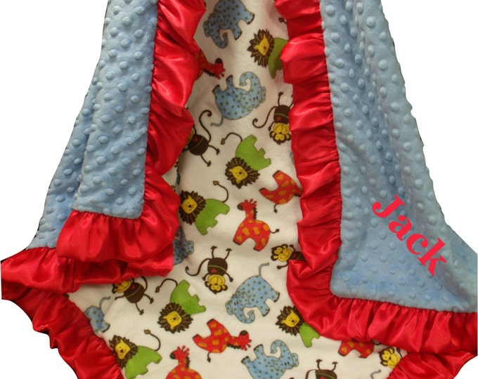 Personalized Minky Baby Blanket, Red and Blue Jungle Blanket, Red and Blue Woodland Animals Blanket, Safari Theme Embroidered Blanket