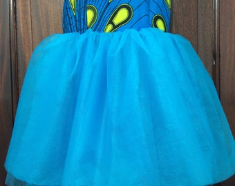 Girl's Blue and Yellow Kitenge and Tulle Party Dress Size 5-6 Years