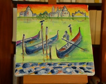 To order only, oil painting on canvas, abstract painting, Venice in color, art decor, square format 20 cm