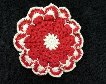 Handmade doilies , Vintage doilies , Red & White Doilies , Needle craft , Crochet Doilies