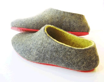 Woman Wool Shoes House Slippers Women Wool Slippers, Dark Gray Slippers Grey House Shoes, Custom Wool Slippers Handmade Wool Gifts for Women