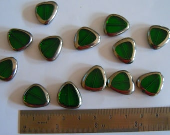 Silver Plated Triangle Green Glass Beads