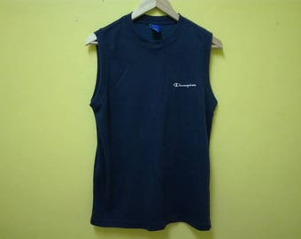 Vintage Champion Sleeveless Shirt | Embroidery Logo