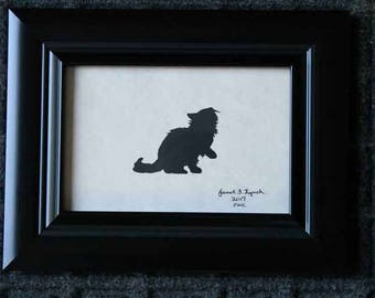 Sneaky Cat - Scherenschnitte - Silhouette - Hand Paper Cutting Art signed and dated By Janet Lynch -4x6 Framed