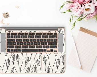 Minimalist Floral and Rose Gold Chrome Detailing Inner Keyboard Tray Vinyl Skin          - Platinum Edition
