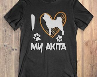 Akita Dog T-shirt: I Love My Akita