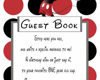 Mickey Mouse Guest Book Sign for 1 year old boy