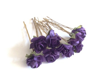Bridal Hair Accessories, Lavender Rose, Lilac flower Hair Bobby Pin, Brass Bobby pin- set 10