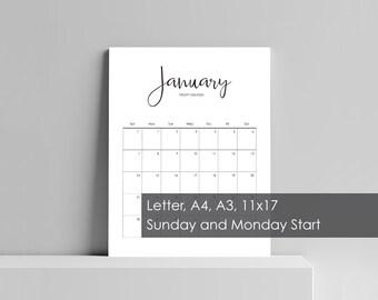 2018 Planner, Large Wall Planner, Monthly Planner, Desk Calendar, Printable Planner, Downloadable Prints, Minimalist, 11x17 A3 A4 Letter