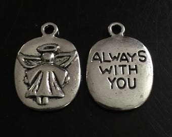 2PC Double Sided Angel/Always With You Charm-Antique Silver Tone-Guardian Angel Charm-Memorial Charm