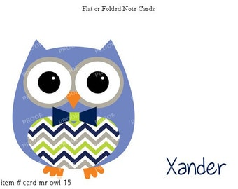 Blue Green Owl Note Cards Set of 10 personalized flat or folded cards