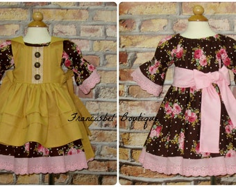 Vintage Style Pinafore, Brown Dress, Pink and Brown Dress, Pink Lace Dress, Flower Girl Dress, Floral Dress, Ocher Dress, Pink Roses Dress