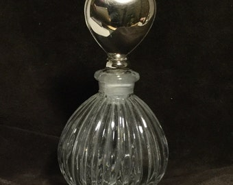 Lovely Glass Perfume Bottle with Silver Heart Top
