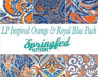 LP Inspired Orange & Royal Blue Pattern Craft Vinyl Project Pack Choose Adhesive Vinyl or HTV Sheets