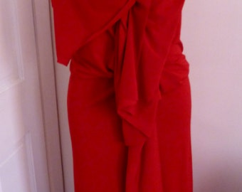 Red fitted ity jersey  v neck drape dress